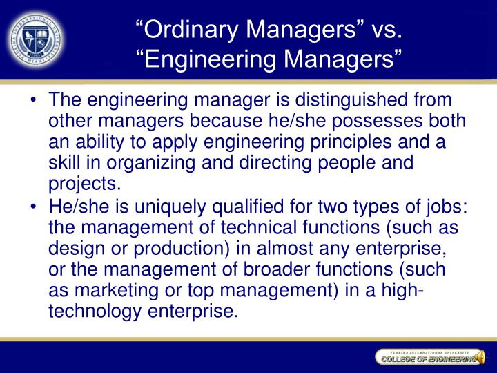 """Ordinary Managers"" vs."