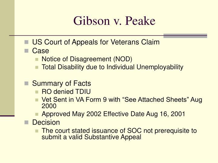 Gibson v. Peake