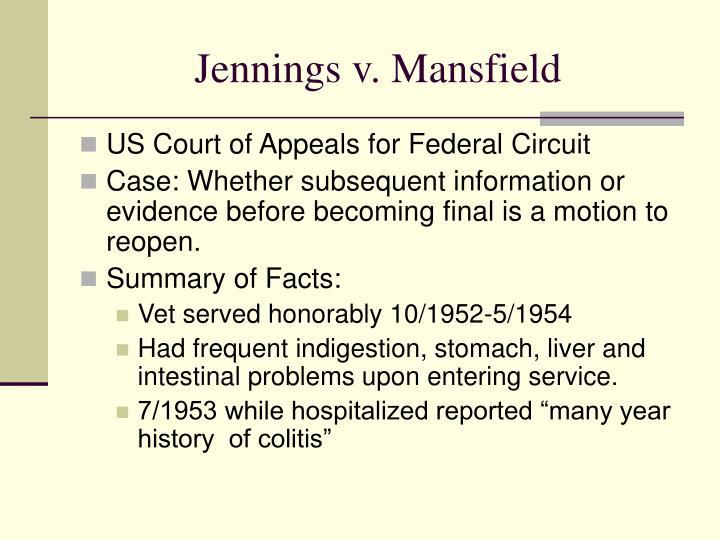 Jennings v. Mansfield