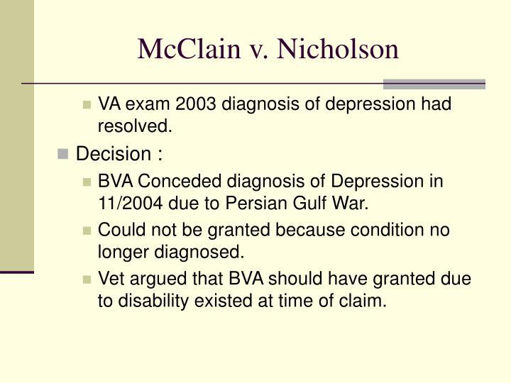 McClain v. Nicholson