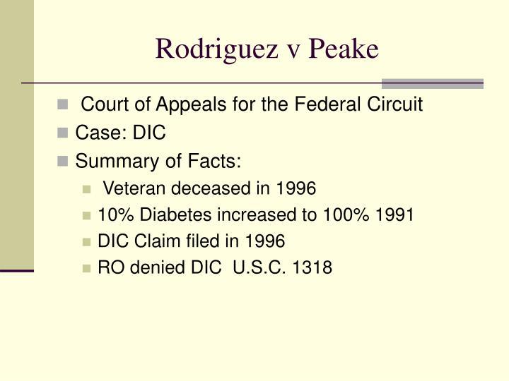 Rodriguez v Peake