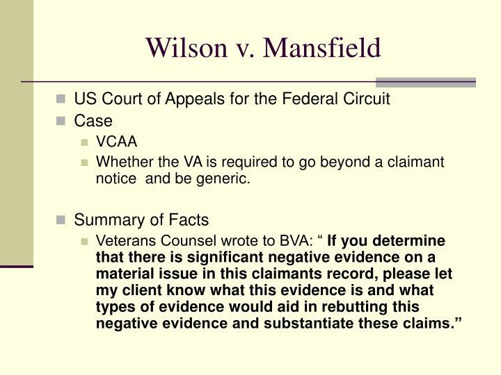 Wilson v. Mansfield