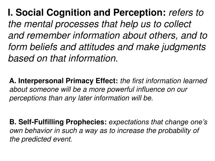 I. Social Cognition and Perception: