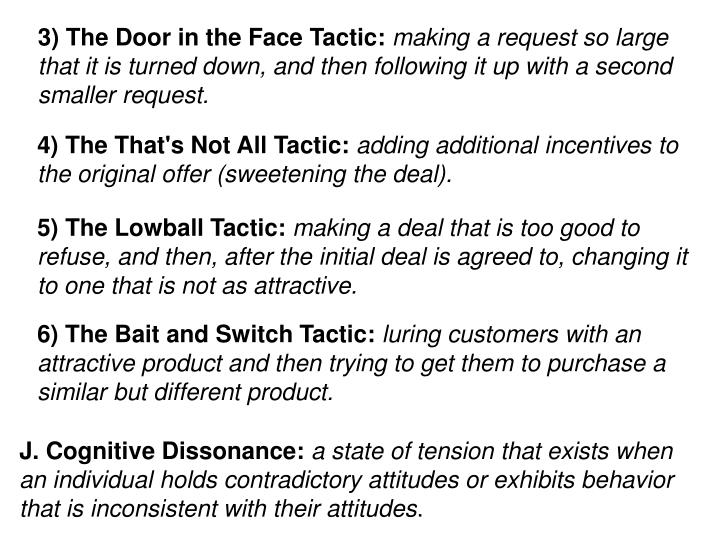 3) The Door in the Face Tactic: