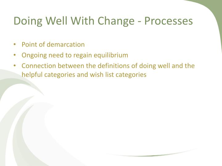Doing Well With Change - Processes