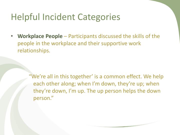 Helpful Incident Categories