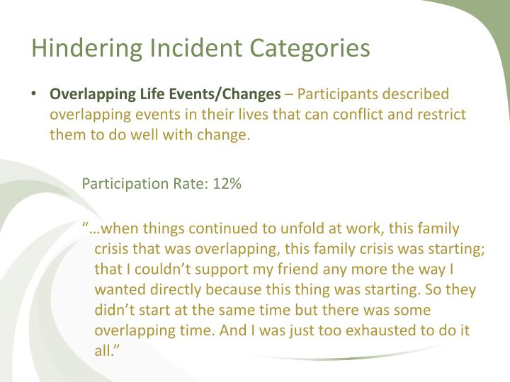 Hindering Incident Categories