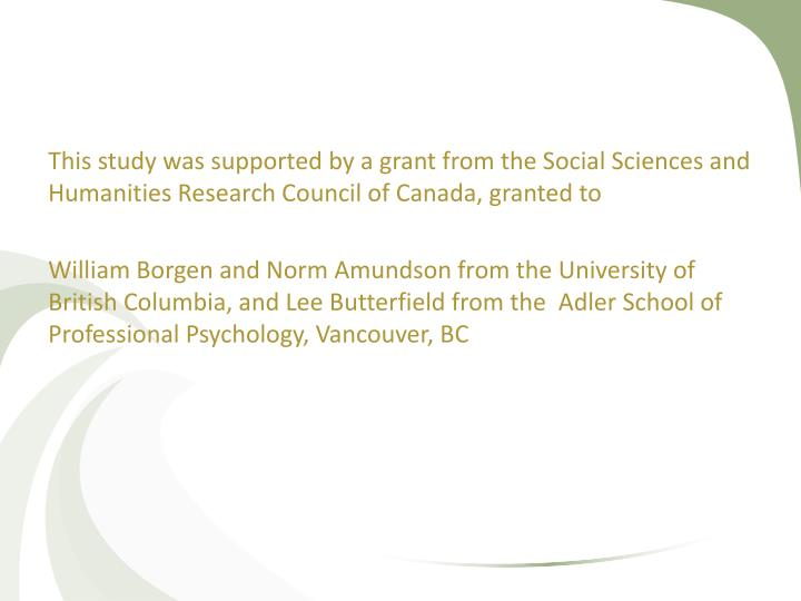 This study was supported by a grant from the Social Sciences and Humanities Research Council of Canada, granted to