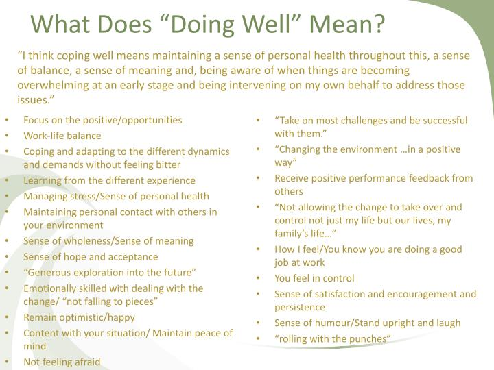"What Does ""Doing Well"" Mean?"