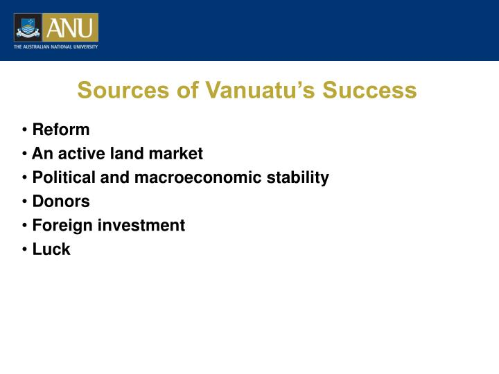 Sources of Vanuatu's Success