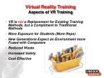 virtual reality training a spects of vr training