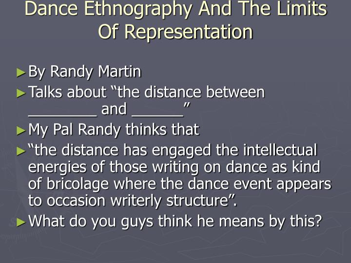 Dance Ethnography And The Limits Of Representation