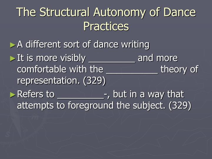 The Structural Autonomy of Dance Practices