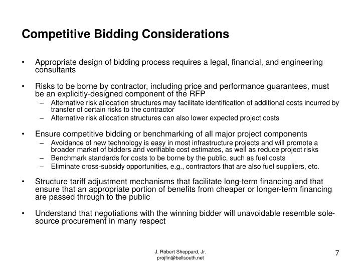 Competitive Bidding Considerations