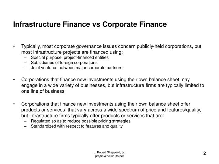 Infrastructure Finance vs Corporate Finance