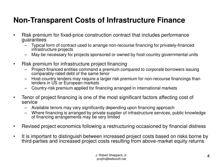 Non-Transparent Costs of Infrastructure Finance