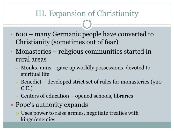 III. Expansion of Christianity