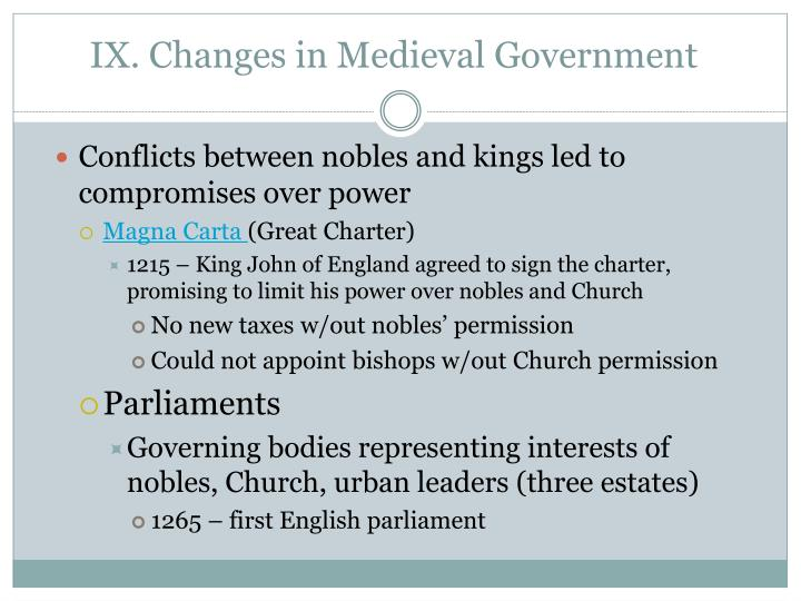IX. Changes in Medieval Government