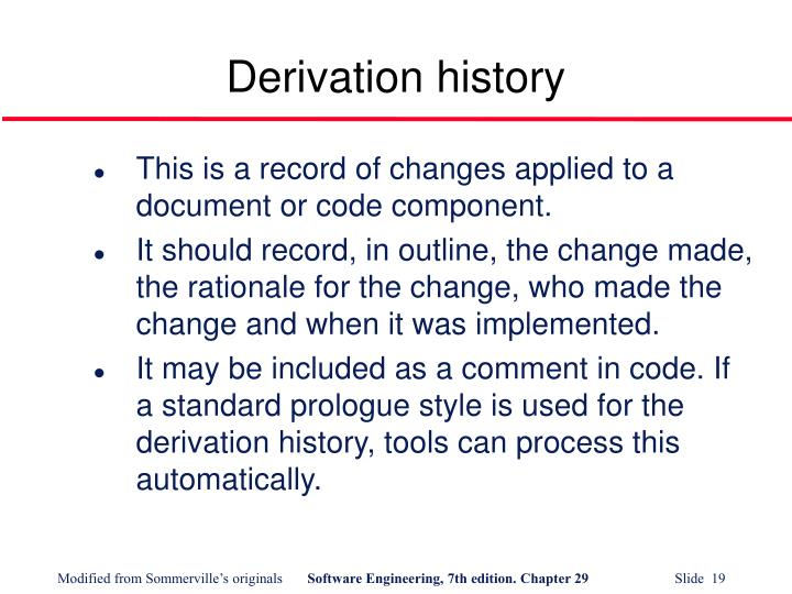 Derivation history