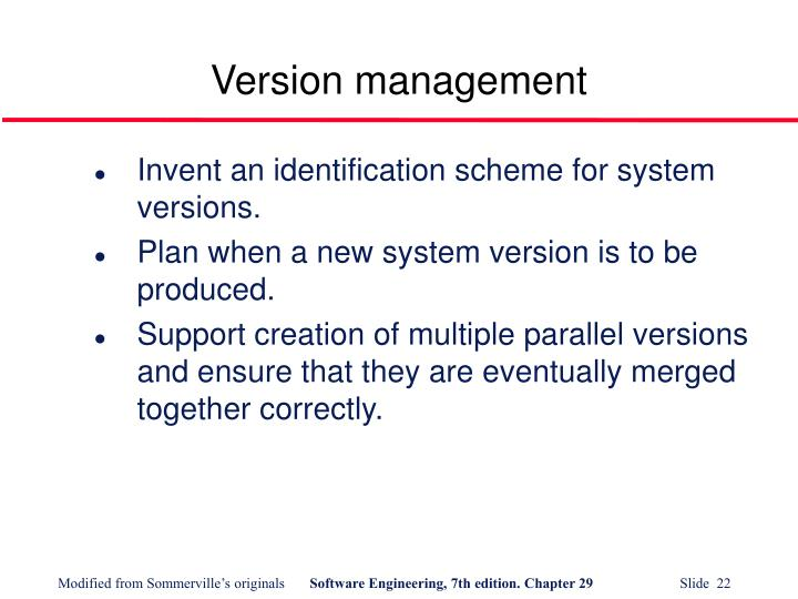 Version management