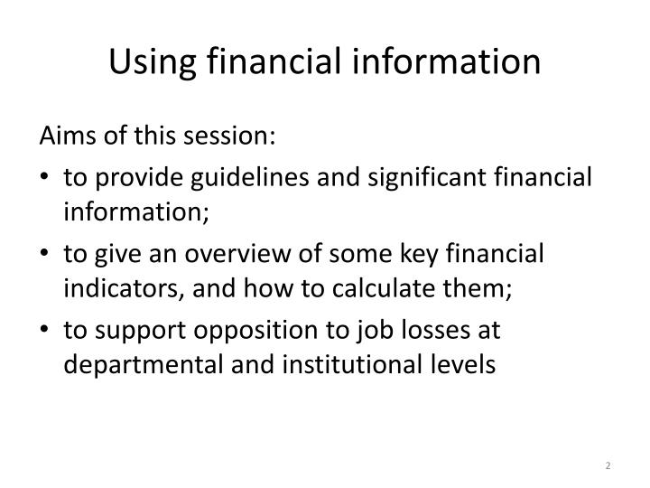 Using financial information1