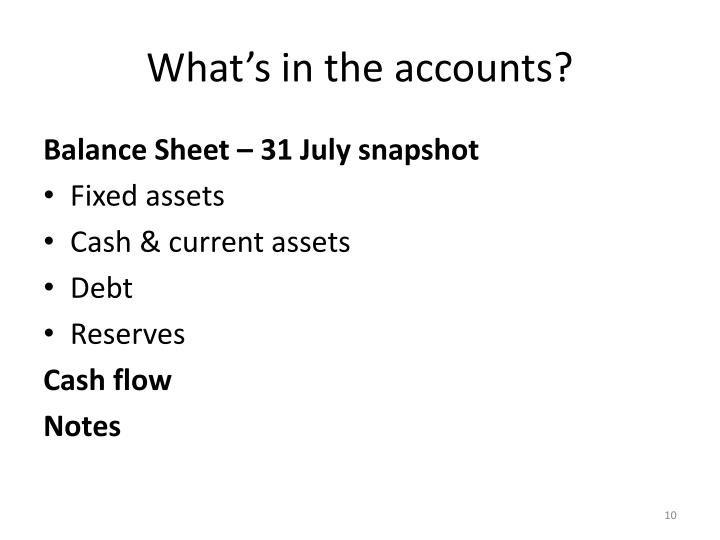 What's in the accounts?