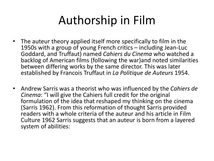 Authorship in film