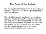 the role of the auteur