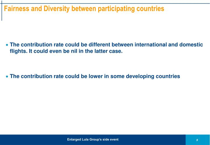 Fairness and Diversity between participating countries