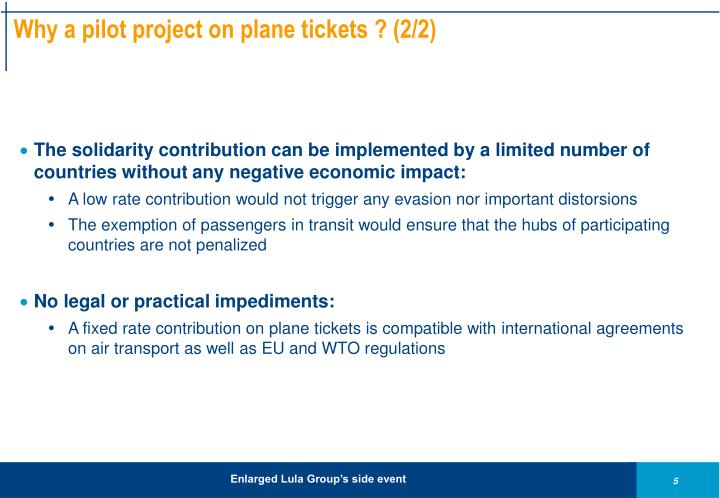 Why a pilot project on plane tickets ? (2/2)