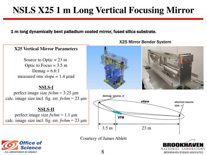 NSLS X25 1 m Long Vertical Focusing Mirror