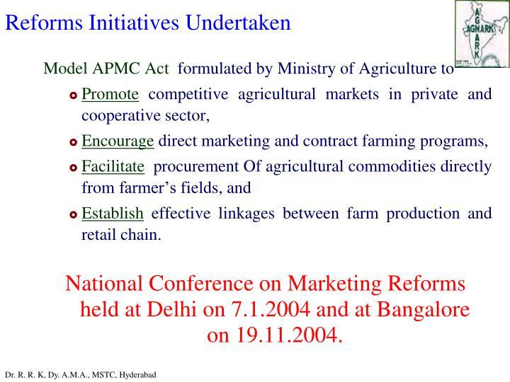 Reforms Initiatives Undertaken