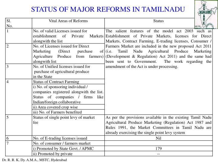 STATUS OF MAJOR REFORMS IN TAMILNADU