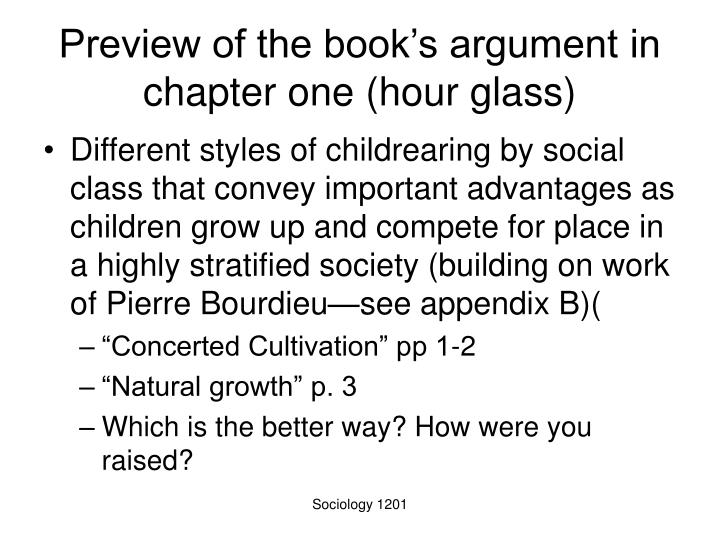 Preview of the book's argument in chapter one (hour glass)