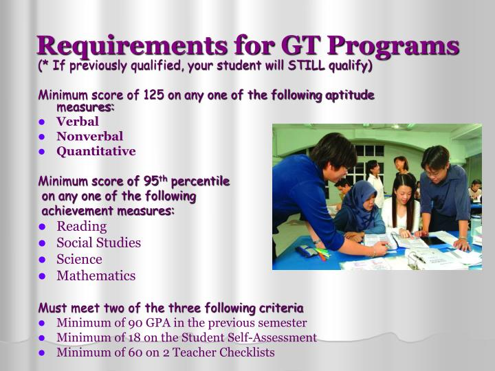 Requirements for GT Programs