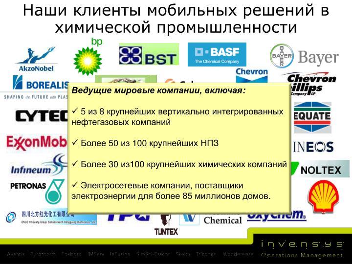 Наши клиенты мобильных решений в химической промышленности