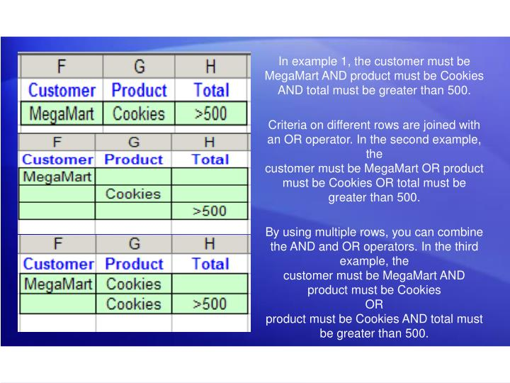 In example 1, the customer must be MegaMart AND product must be Cookies AND total must be greater than 500.