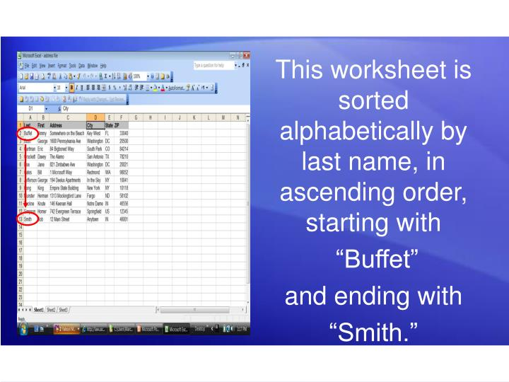 This worksheet is sorted alphabetically by last name, in ascending order, starting with