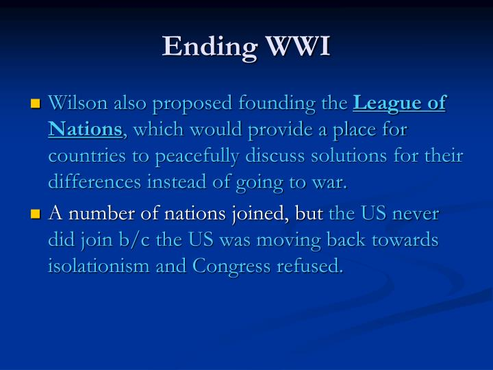 Ending WWI