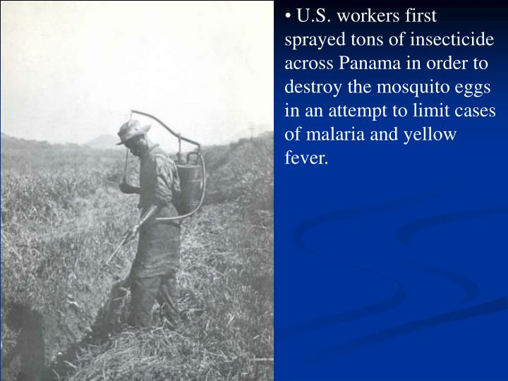 U.S. workers first sprayed tons of insecticide across Panama in order to destroy the mosquito eggs in an attempt to limit cases of malaria and yellow fever.