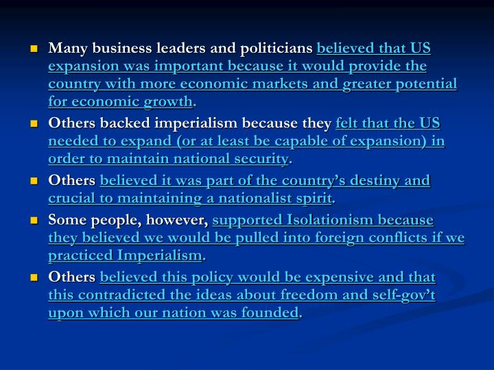 Many business leaders and politicians