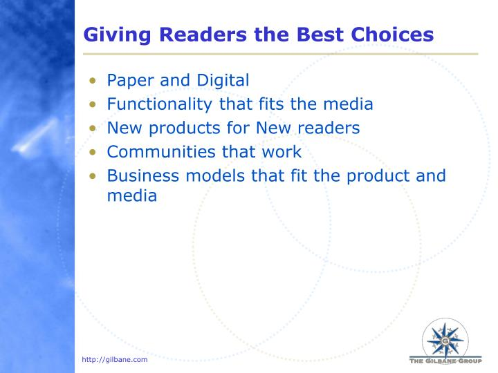 Giving Readers the Best Choices