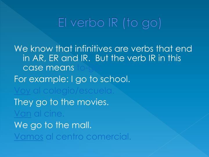 El verbo IR (