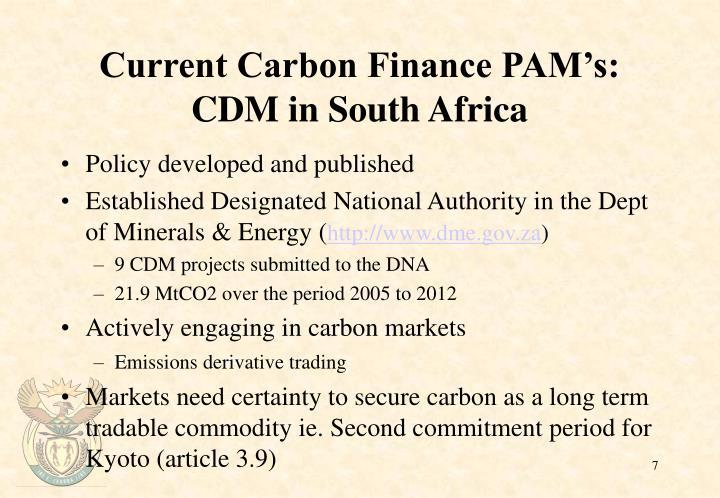 Current Carbon Finance PAM's: