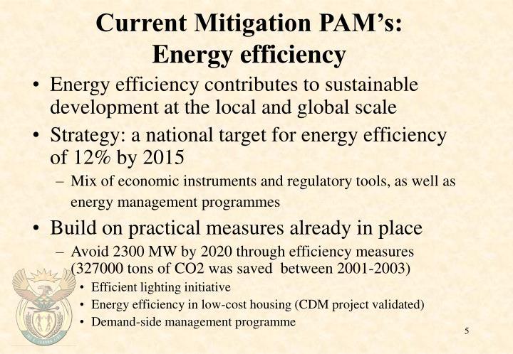 Current Mitigation PAM's: