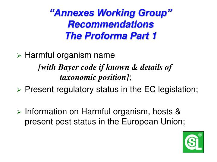 """Annexes Working Group""  Recommendations"