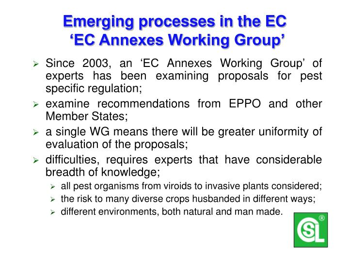 Emerging processes in the EC