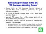 emerging processes in the ec ec annexes working group