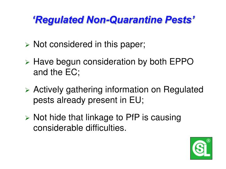 'Regulated Non-Quarantine Pests'