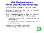 risk managers needs known unknowns and known nos